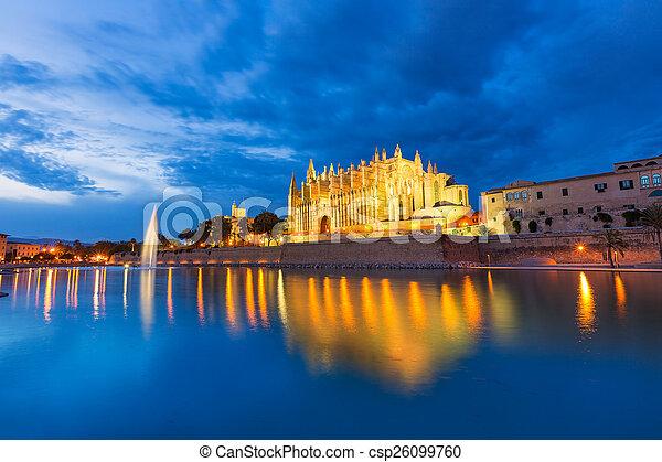 Palma de Mallorca Cathedral Seu sunset Majorca - csp26099760