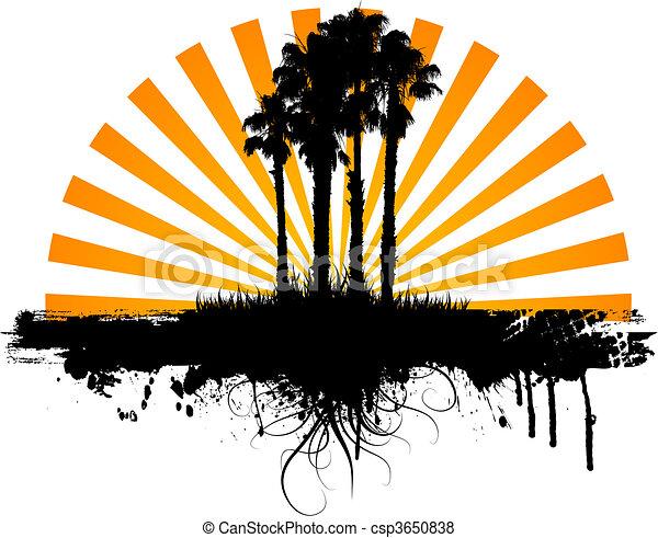 palma, grunge, árvores - csp3650838