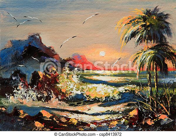 Paisaje marino con palmeras y gaviotas - csp8413972