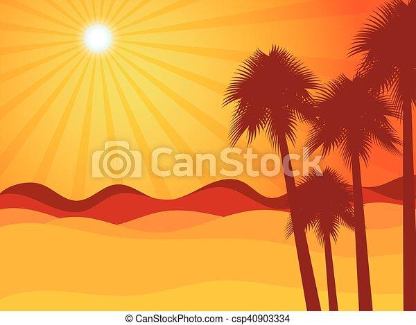 palma, tramonto, deserto - csp40903334