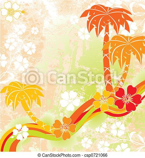Escena de verano, palmas, vector - csp0721066