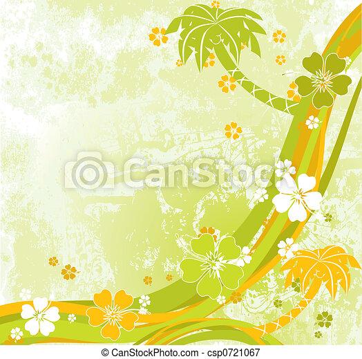 Escena de verano, palmas, vector - csp0721067
