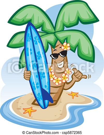 Palm Tree y tabla de surf - csp5872365