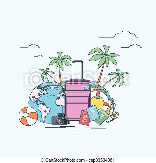 palmier, exotique, été, île, emplacement, voyage, bagage - csp33534381