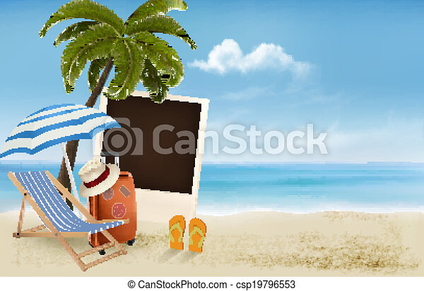 palmier, photographie, plage, chair. - csp19796553