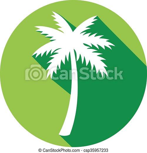 palmier, plat, icône - csp35957233