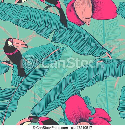 palms., illustration., modèle, seamless, exotique, vecteur, banane - csp47210517