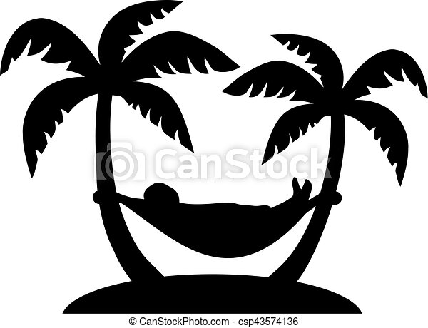 Palms with man lying in a hammock - csp43574136