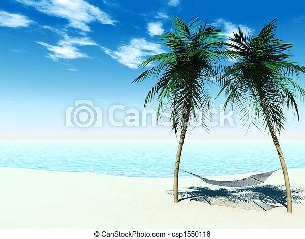 palmtrees, rede, entre - csp1550118