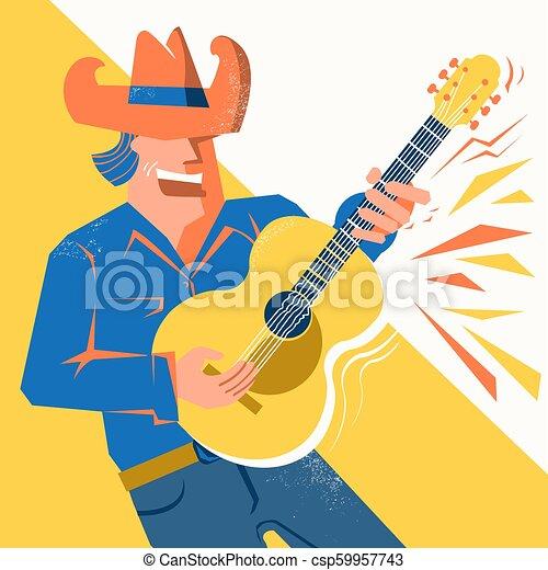 Guitarrista con sombrero de vaquero cantando y tocando la guitarra acústica - csp59957743