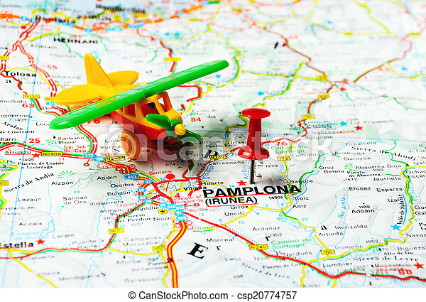 Pamplona Irunea Spain Map Airport Red Push Pin Pointing At