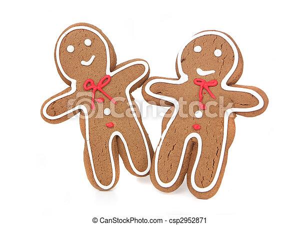 Hombres de pan de jengibre sonriendo y felices - csp2952871