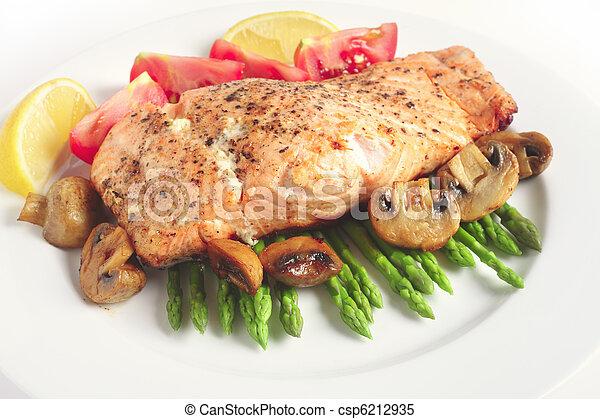 Pan-seared salmon steak and veg - csp6212935