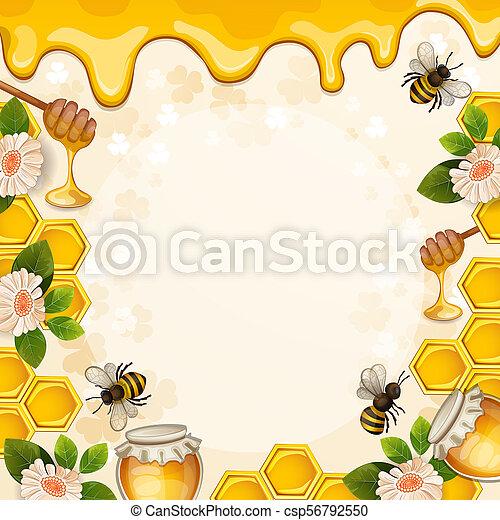 Hermoso fondo con abejas, miel, entrejares, flores y panal - csp56792550
