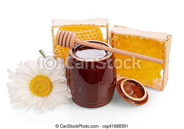 Keg con miel, panal, madera y margarita aisladas. - csp41688391