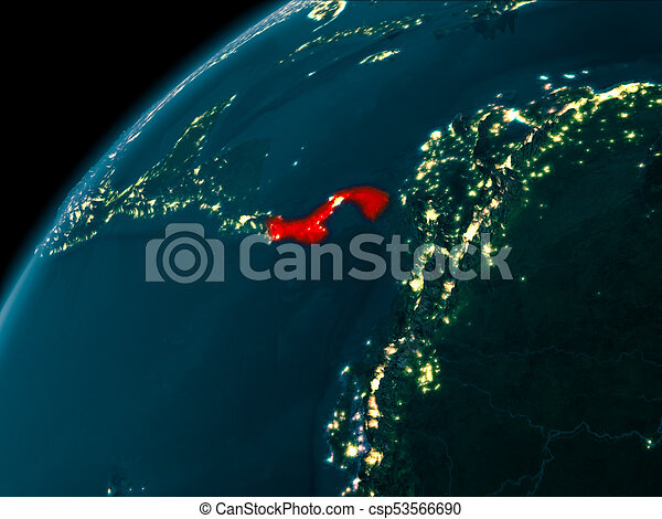 Panama at night on earth night map of panama as seen from stock panama at night on earth csp53566690 gumiabroncs Image collections