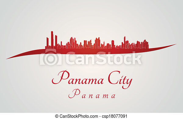 Panama City skyline in red - csp18077091
