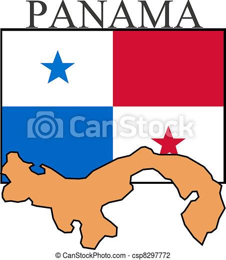 Illustration Of Panama Flag Map And Name Vector Illustration - Panama flag