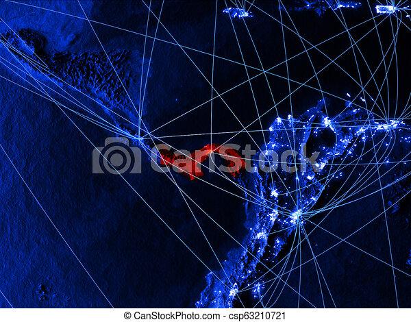 Panama on blue blue digital map - csp63210721