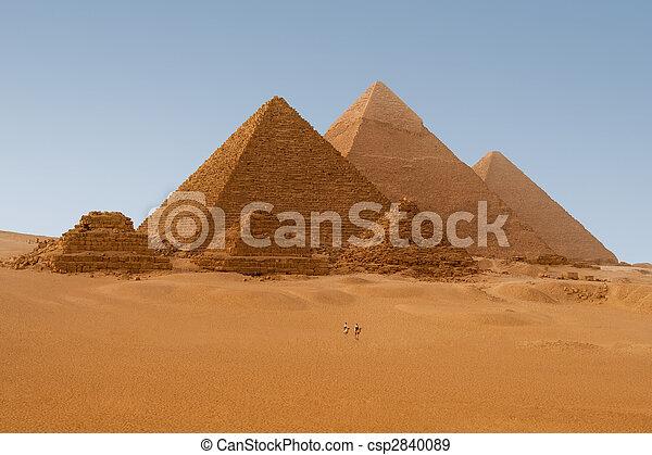 panaromic, egyptisch, giza, zes, egypte, piramides, aanzicht - csp2840089