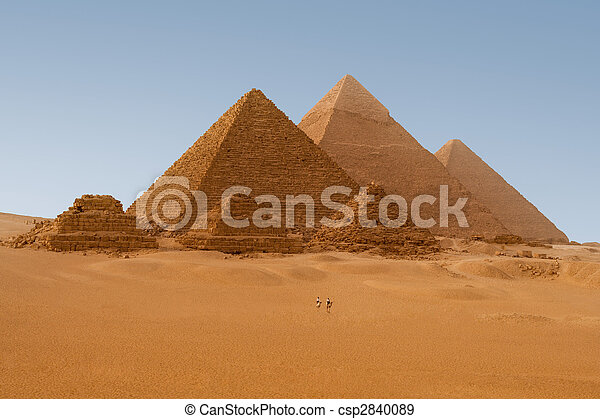 Panaromic view of six Egyptian pyramids in Giza, Egypt  - csp2840089