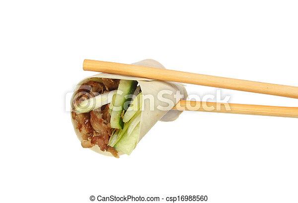 Pancake in chopsticks - csp16988560