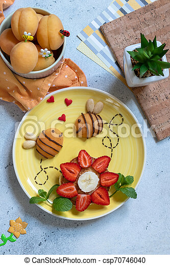 Pancake with fruits for kids breakfast - csp70746040