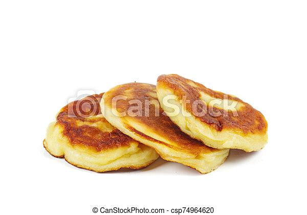Pancakes isolated on white background - csp74964620