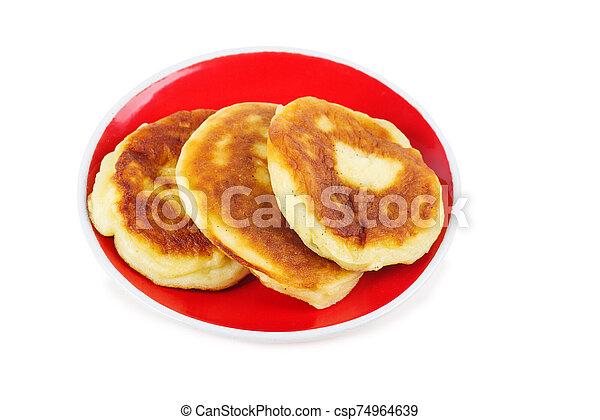Pancakes isolated on white background - csp74964639