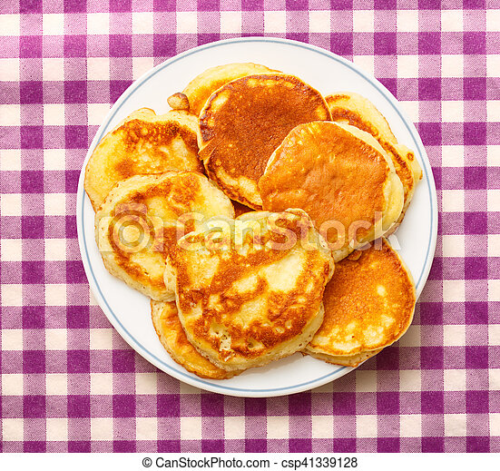 Pancakes on the white plate - csp41339128