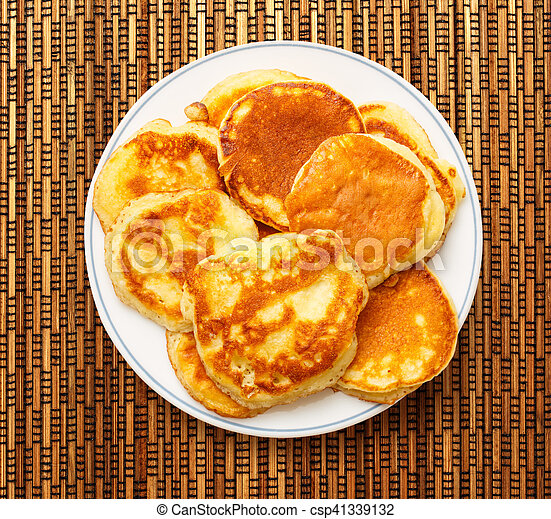 Pancakes on the white plate - csp41339132