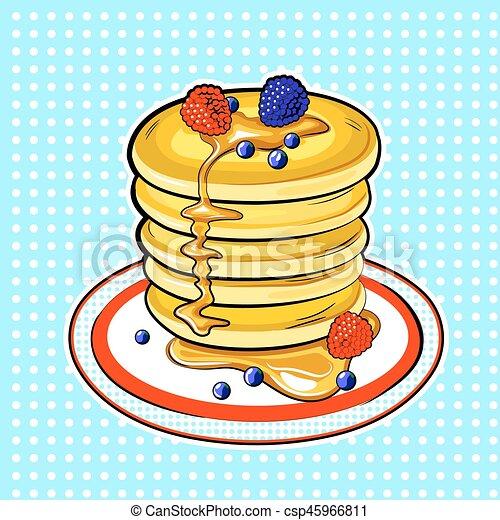 Pancakes Pop Art Vector Illustration Pancakes Pop Art