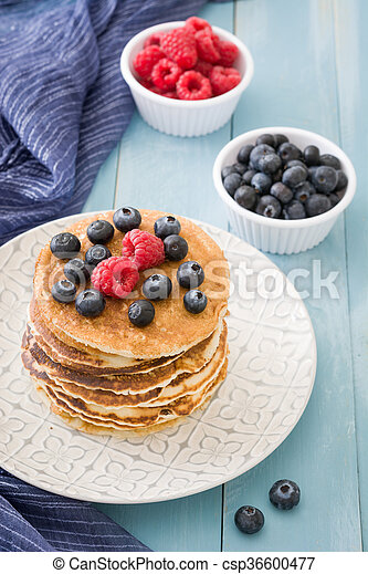 Pancakes with blueberries - csp36600477