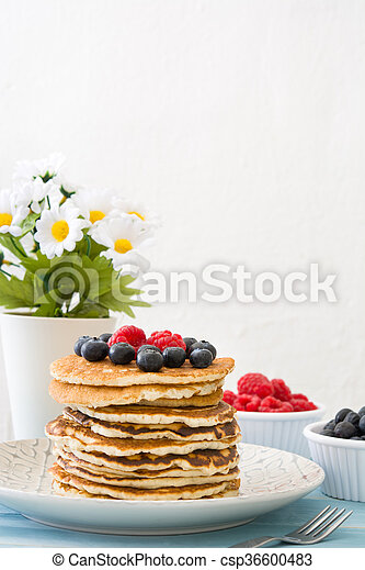 Pancakes with blueberries - csp36600483