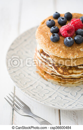 Pancakes with blueberries - csp36600484