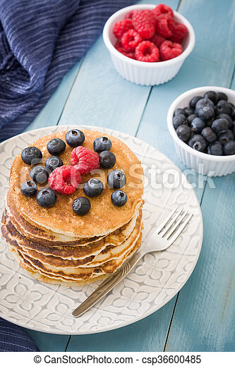 Pancakes with blueberries - csp36600485