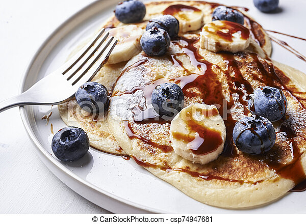 pancakes with blueberries - csp74947681
