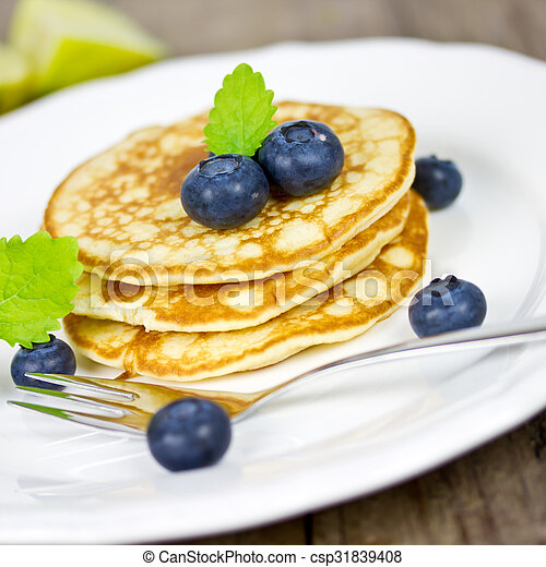 pancakes with blueberries - csp31839408