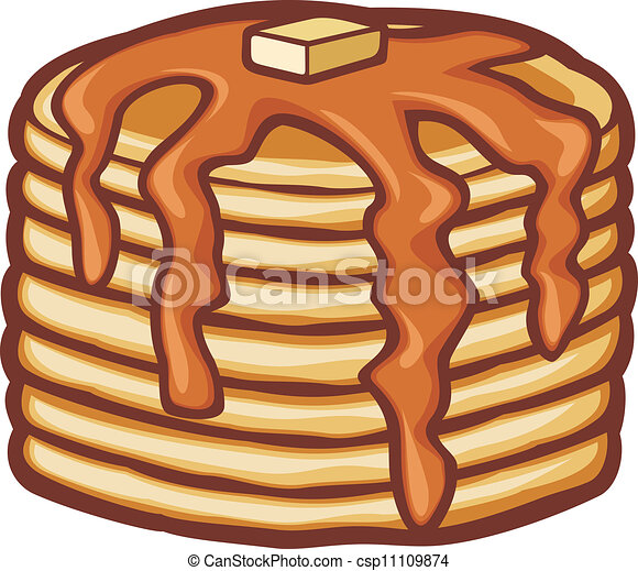 pancakes with butter and syrup - csp11109874