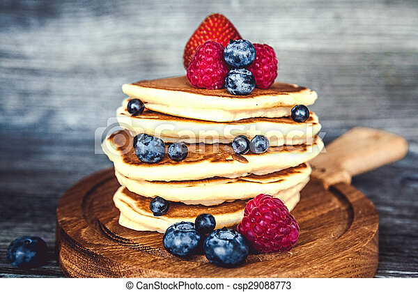 Pancakes with fresh summer berries - csp29088773