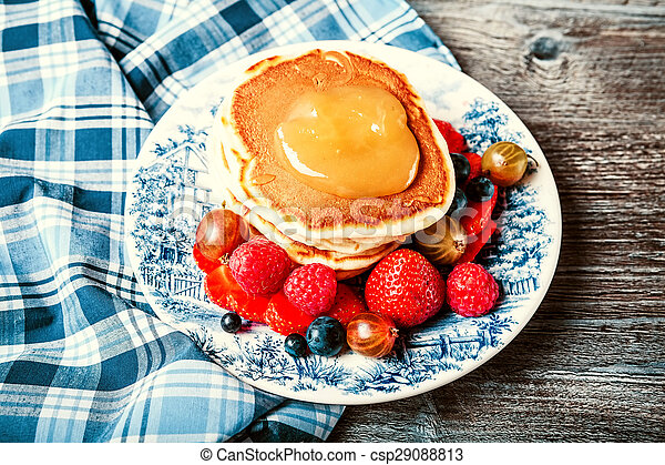 Pancakes with fresh summer berries - csp29088813