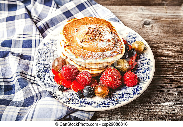 Pancakes with fresh summer berries - csp29088816