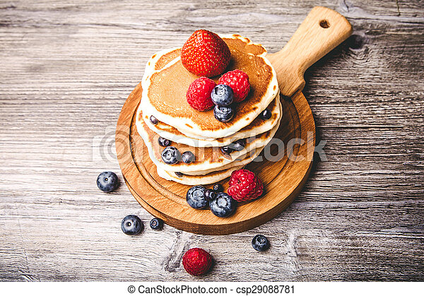 Pancakes with fresh summer berries - csp29088781