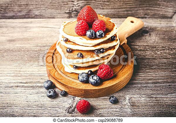 Pancakes with fresh summer berries - csp29088789