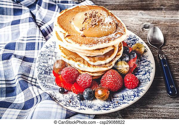 Pancakes with fresh summer berries - csp29088822