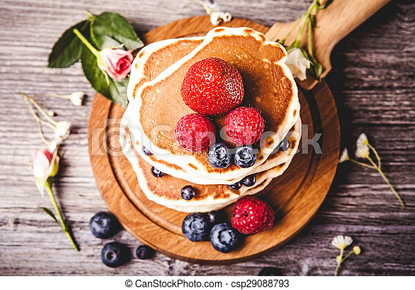 Pancakes with fresh summer berries - csp29088793