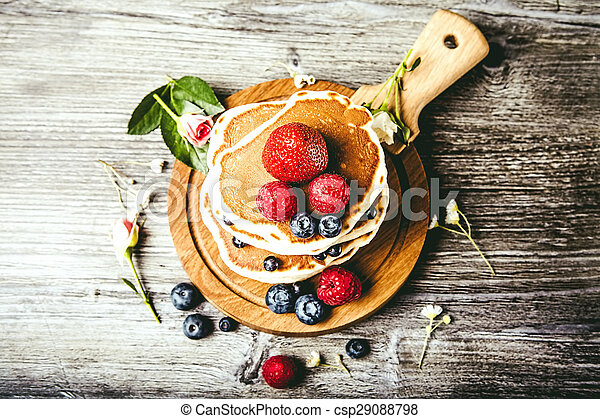 Pancakes with fresh summer berries - csp29088798