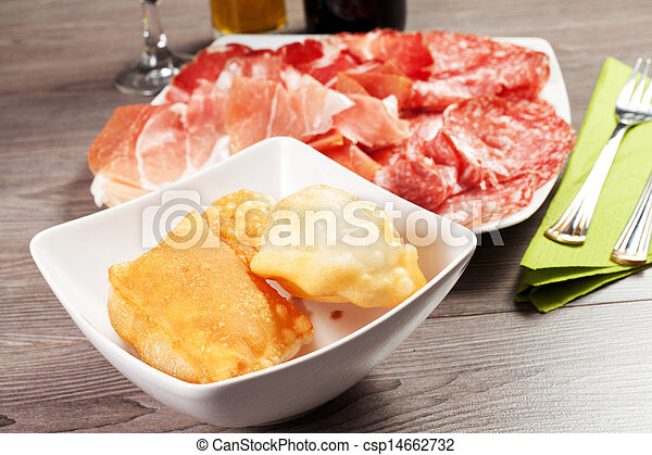 pancakes with ham and meat products - csp14662732