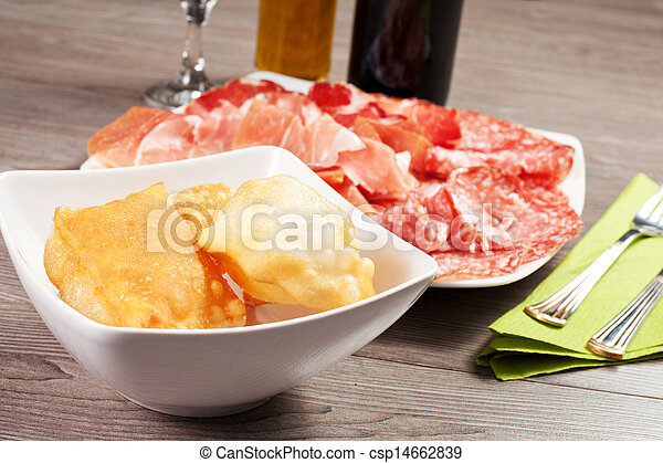 pancakes with ham and meat products - csp14662839
