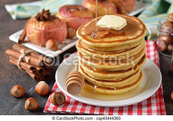 Pancakes with honey - csp43444360